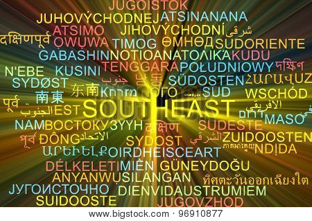Background concept wordcloud multilanguage international many language illustration of southeast glowing light