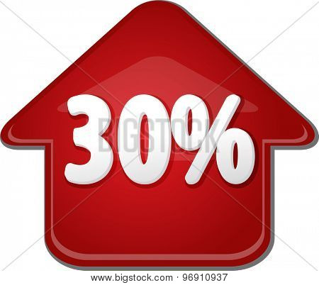 Upwards success glossy red arrow percent pointing up thirty 30