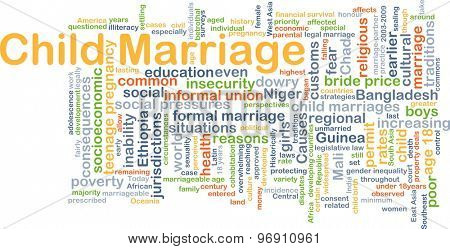 Background concept wordcloud illustration of child marriage