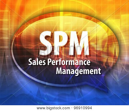 word speech bubble illustration of business acronym term SPM Sales Performance Management