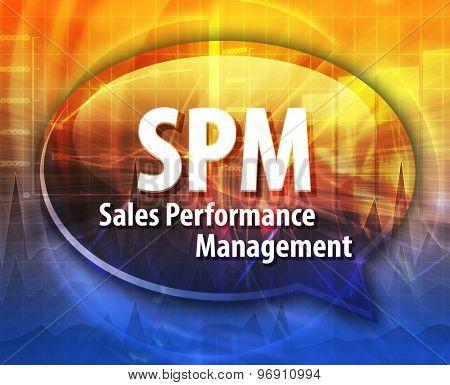 word speech bubble illustration of business acronym term SPM Sales Performance Management