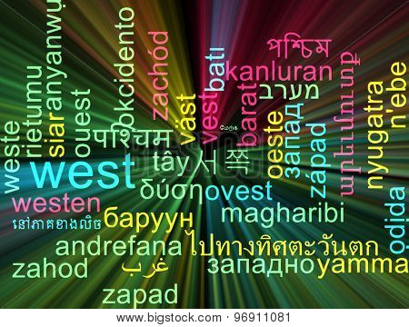 Background concept wordcloud multilanguage international many language illustration of west glowing light