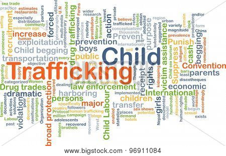 Background concept wordcloud illustration of child trafficking