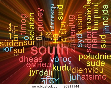 Background concept wordcloud multilanguage international many language illustration of south glowing light