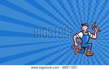Business Card Carpenter Builder Hammer Running Cartoon