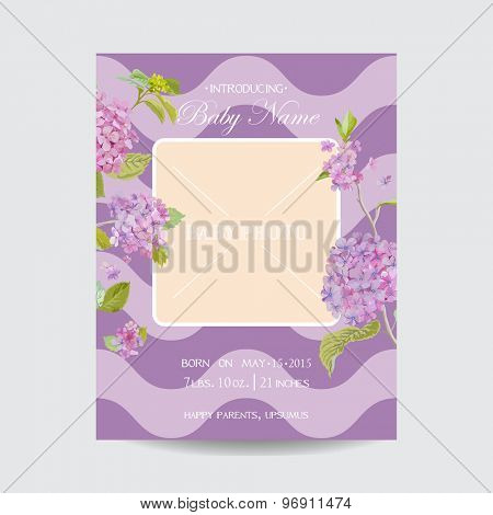 Baby Arrival Card with Photo Frame - Blossom Flowers Theme - in vector
