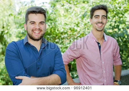 happy young casual men outdoor portrait