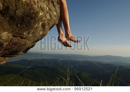 Female Feet On High Landscape