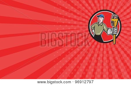 Business Card Plumber Presenting Monkey Wrench Circle Cartoon