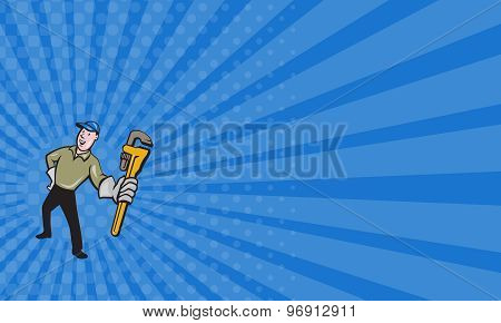 Business Card Plumber Presenting Monkey Wrench Isolated Cartoon