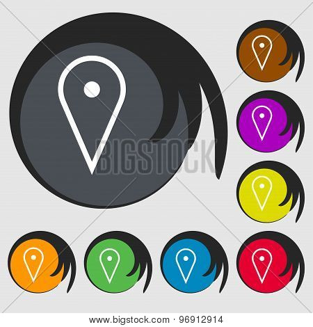Map Poiner Icon Sign. Symbol On Eight Colored Buttons. Vector