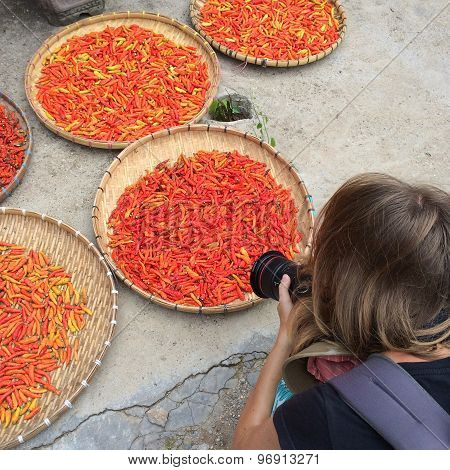 Young woman taking picture of the basket with red pepper
