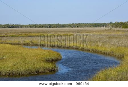 Airboat Canal In Grass Flats