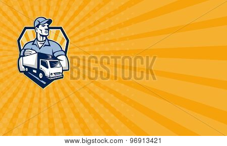 Business Card Removal Man Delivery Truck Crest Retro