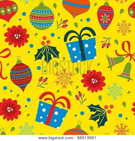 Christmas background with balls bells flowers
