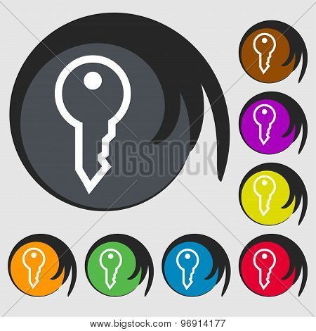 Key Icon Sign. Symbol On Eight Colored Buttons. Vector