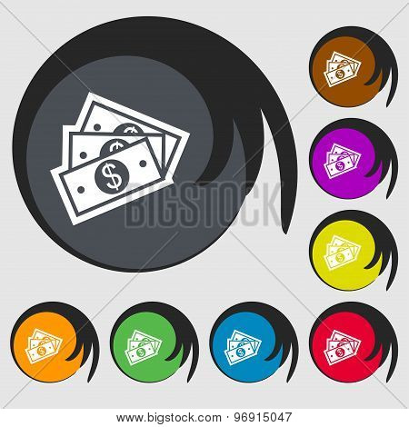 U.s Dollar Icon Sign. Symbol On Eight Colored Buttons. Vector