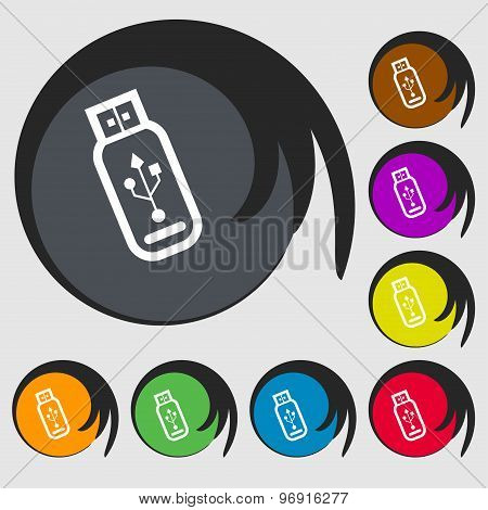 Usb Flash Drive Icon Sign. Symbol On Eight Colored Buttons. Vector