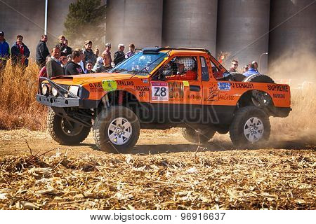 Hd Orange Truck Kicking Up Dust On Turn Ar Rally