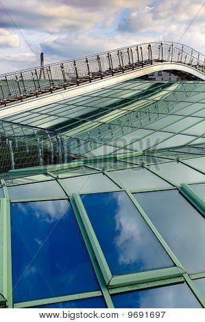 Foot bridge Over Modern Glass Roof