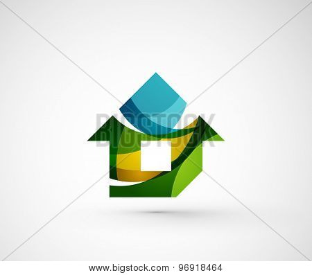 Abstract geometric company logo home, house, building.  illustration of universal shape concept made of various wave overlapping elements