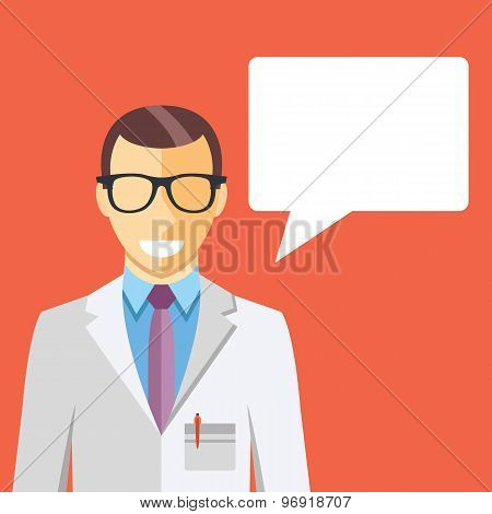 Doctor in white coat and speech bubble