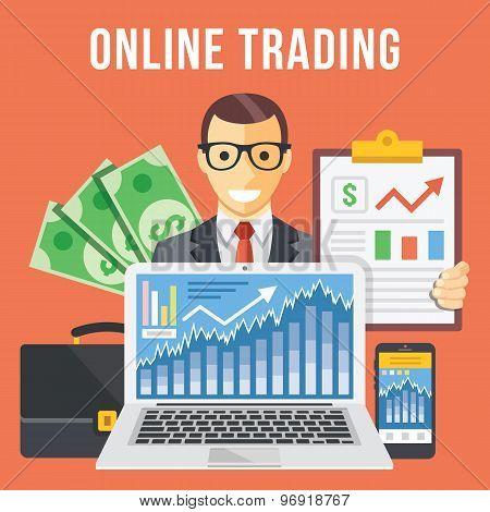 Online trading flat illustration concept