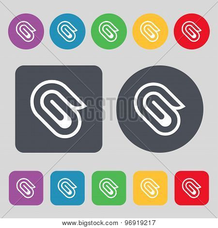 Paper Clip Icon Sign. A Set Of 12 Colored Buttons. Flat Design. Vector