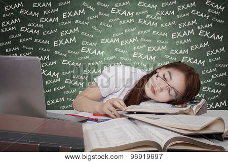 Concept Of Tired Student Prepare Exam