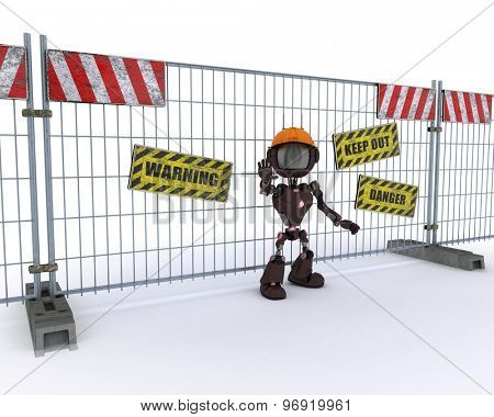 3D Render of an Android with barrier fence