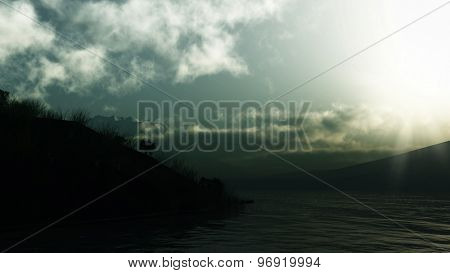 3D landscape of mountains, trees and grass with a lake