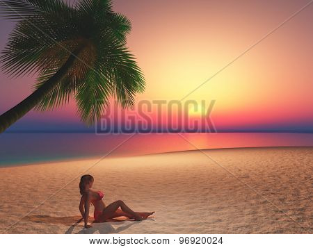 3D render of a female laying on a beach at sunset
