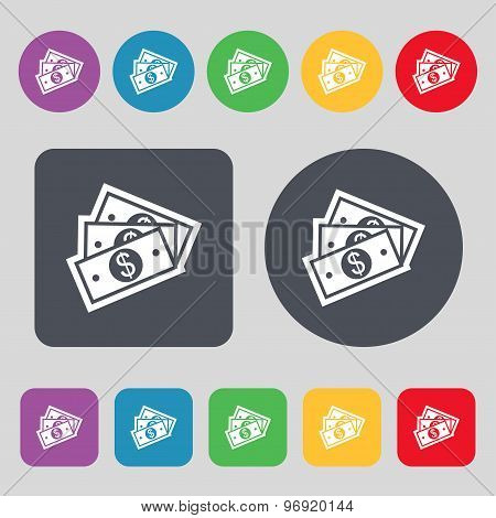 U.s Dollar Icon Sign. A Set Of 12 Colored Buttons. Flat Design. Vector