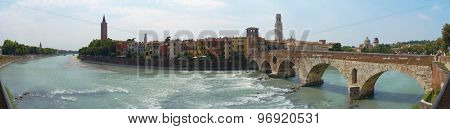 VERONA, ITALY - JULY 13: Stitched panorama of Verona showing Adige river and Pietra Bridge. July 13, 2015 in Verona.