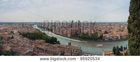 VERONA, ITALY - JULY 13: Stitched panorama of Verona seeing from San Pietro castle. July 13, 2015 in Verona.