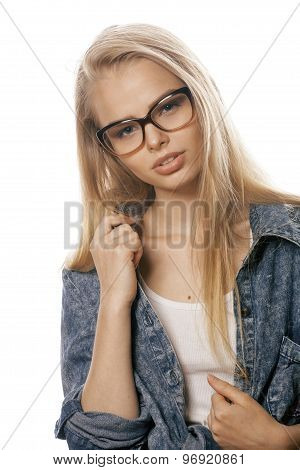 young pretty girl teenager in glasses on white isolated