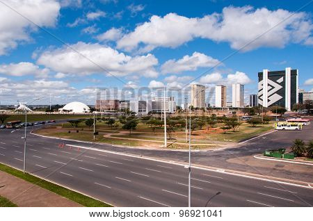 Skyline of a modern city Brasilia, capital of Brazil