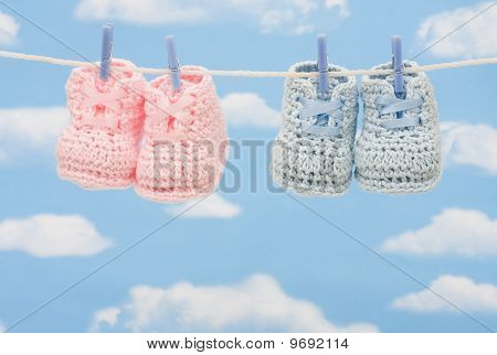 Two Pairs Of Retro Baby Booties