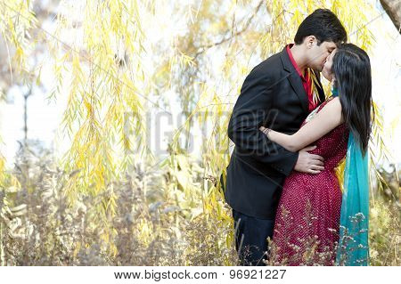 Young Indian Couple Kissing