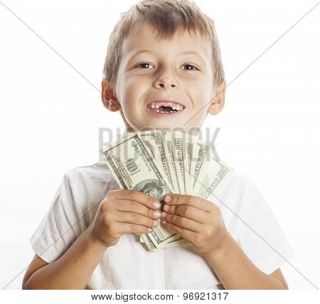 young cute boy holding lot of cash, american dollars