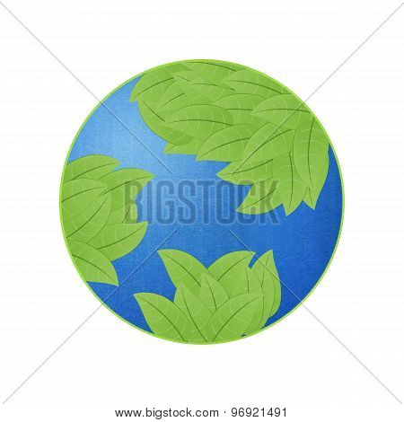 Earth With Leaf For Eco Idea