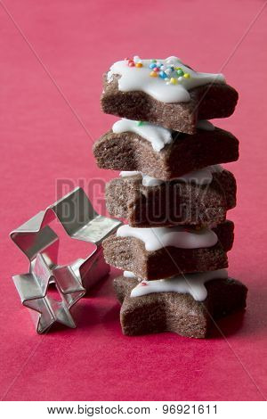 Stack of Star Cookies with Cookies Cutters