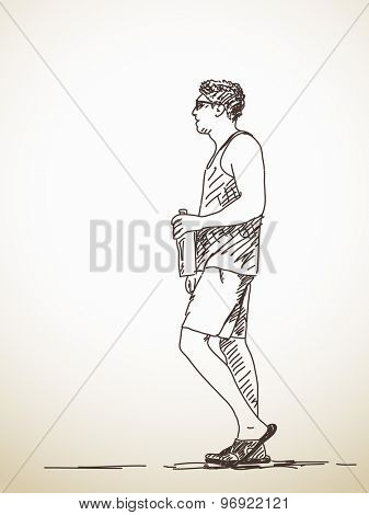 Sketch of walking young Man Hand drawn illustration