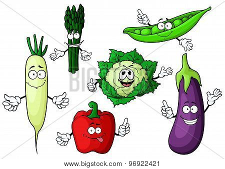 Cartoon organic garden vegetables characters