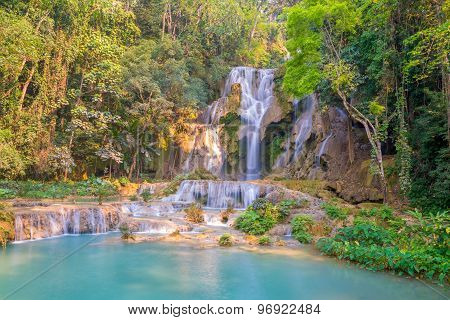 Waterfall In Rain Forest (tat Kuang Si Waterfalls At Luang Prabang, Laos.)