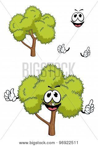 Cartoon tree with green foliage
