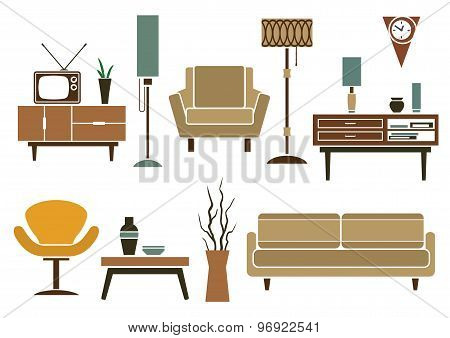 Retro flat furniture and interior icons