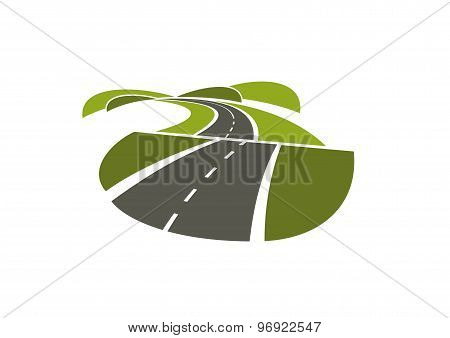 Hilly road abstract icon on white