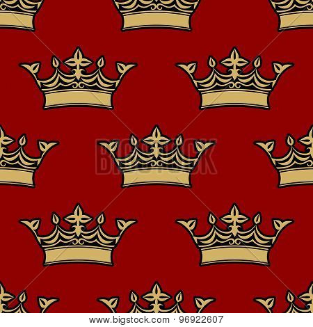 Seamless pattern of victorian crowns