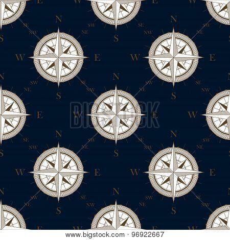 Vintage compass seamless pattern background
